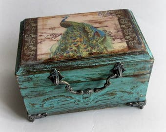 Vintage Peacock Box Peacock Jewelry Box Shabby chic Box Peacock Gift Trinket Box Custom Peacock Box Antique Decoupage Box Birthday Gift