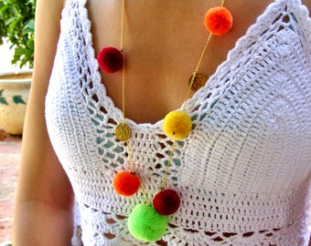 Long Pom Pom Necklace // Hippie Necklace // Colorful Summer Necklace // 14K gold vermeil // neon necklace // hippie jewelry // boho necklace