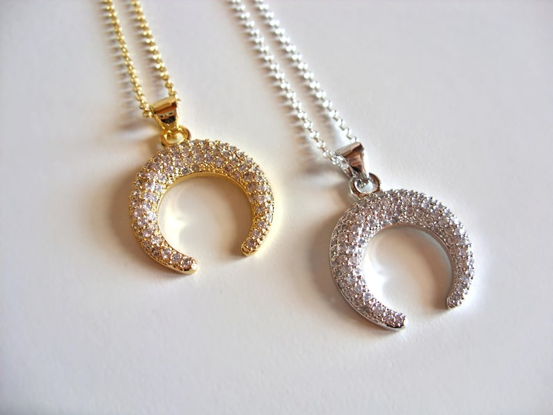 Double Horn Necklace  Crescent Moon Necklace  Sterling Silver or 14K Gold vermeil  boho layering necklace