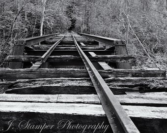 Abandoned railroad deck bridge.  Professional print, multiple sizes. Very cool image for the train lover or anyone else.  Color or B&W.