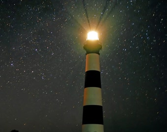 Night Light.  Bodie Island Lighthouse against the Stars.  Professional print, multiple sizes. Nice for home, office, business, or gift.