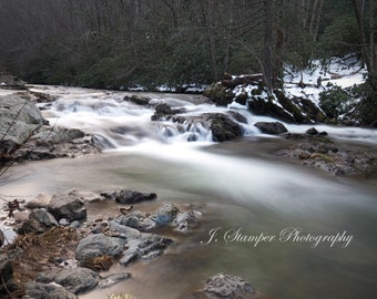 Smooth, clear Appalachian mountain creek in the snow.  Professional print, multiple sizes. Nice for home, office, business, or gift.