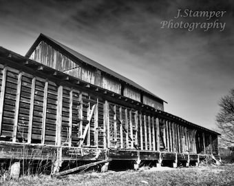 The Old Barn in Appalachia.  Very interesting black and white image.  Professional print in multiple sizes. Great for home, office, gift.
