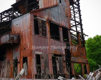 Abandoned Industrial Lumber Mill Photograph a haunting image in the WV mountains.  Professional print in multiple sizes.  Home, office, gift