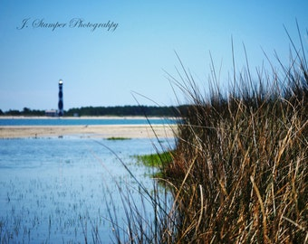 Lovely Cape Lookout Lighthouse.  North Carolina Outer Banks.  Professional print, multiple sizes. Nice for home, office, business, or gift.
