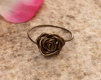 Bronze Rose Ring, Bronze Wrapped Ring, Wire Wrapped Bronze Rose Ring, Rose Ring, Valentine Gift, Girlfriend Gift, Wife Gift, Mothers Day