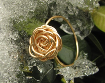 Gold Rose Ring, Flower Ring, Wire Wrapped Rose Ring, Rose Ring, Gold Ring, Tarnish Resistant Rose Ring, Mothers Day