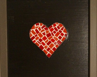 Red Heart Framed Mosaic - Reds/Silver