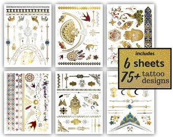 75 Gold Metallic Henna Temporary Tattoos Mandala Mehndi Etsy