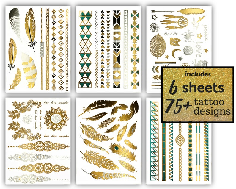 1b733db61cdc3 75 Metallic Temporary Tattoos Gold Silver Black Turquoise | Etsy