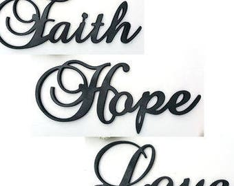 Faith Hope and Love Wood Wall Words Signs Art Home Decor