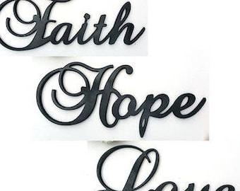 Wooden Words Wooden Sayings Faith Hope Love Wooden Word Cut Out Home Decor Bedroom Decor Wall Art Wall Hanging  sc 1 st  Etsy & Faith hope love art | Etsy