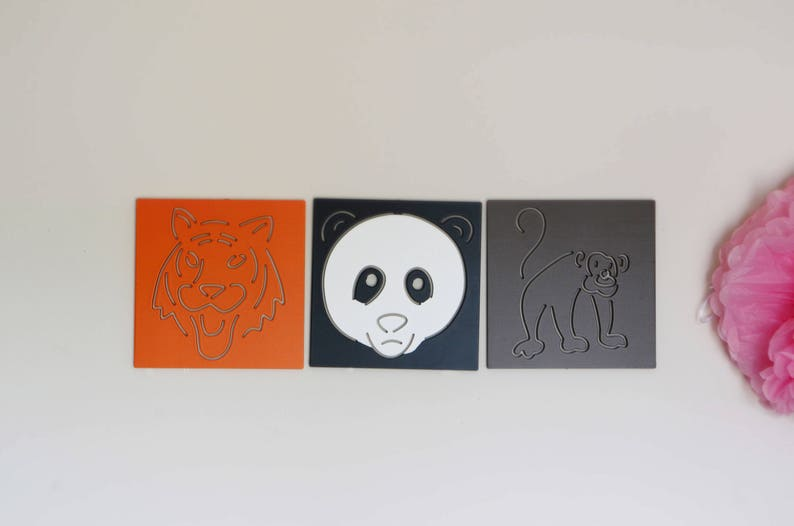 Painted Wooden Plaques Animal Cut Outs Wooden Animals Kids Etsy