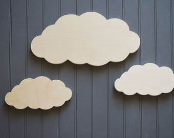 Cloud Cut Out, Wooden Clouds, Wood Cut Outs, Nursery Decor, Kids Room Decor, Bedroom Decor, Wall Art, Set of Clouds