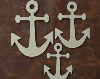Wooden Anchor, Wooden Shapes, Beach Decor, Boat Anchor, Wooden Anchor, Beach House, Wall Decor, Set of 3, Wall Hanging