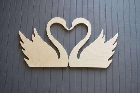 Two Wooden Swans Heart Shaped Wooden Swans Bedroom Decor