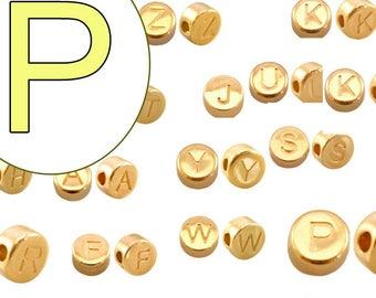 """Kleinloch-Buchstaben-Perle """"F"""" aus Acryl 30 Stück 7mm"""
