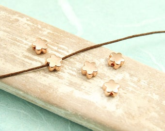 10x Metal bead Flower 6 mm rose gold plated #4071