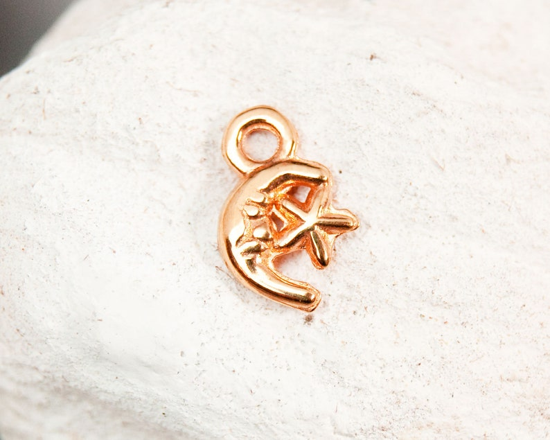 2x Moon metal pendant 18K rose gold plated with small star 12 x 8 mm #5365