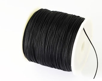 5 m macrame ribbon cord 0.5 black glossy for macrame jewelry for thin bracelets