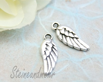 2x Pendant wing angel wings metal silver plated antique