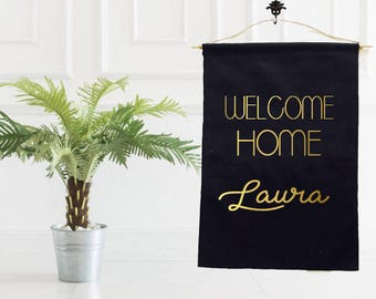 Welcome home, welcome home banner, new home banner, baby banner, gold banner, gold welcome banner, welcome back, military welcome