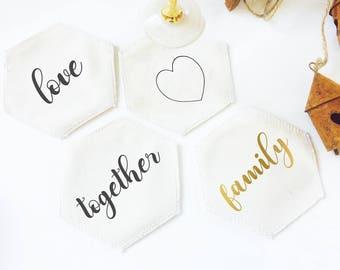 Coaster, coasters, hexagonal coasters, wedding coaster, coaster set, kitchen deco, housewarming, table decoration, Christmas decor