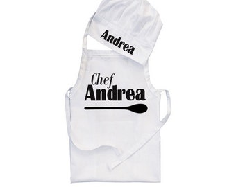 3 sizes, Apron chef hat, baby apron, kid apron, personalised apron, apron birthday, children apron, personalised chef hat, newborn apron