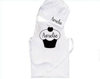 3 sizes, Cupcake Apron, baby apron, kid apron, personalised apron, apron birthday, children apron, personalised chef hat, newborn apron