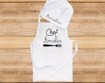 3 sizes, chef hat Apron, baby apron, kid apron, personalised apron, apron birthday, children apron, personalised chef hat, newborn apron