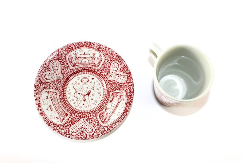 Bj\u00f8rn Wiinblad Made in 1960. Nym\u00f8lle with motiv from Tivoli in Denmark Duo set with cup and saucer