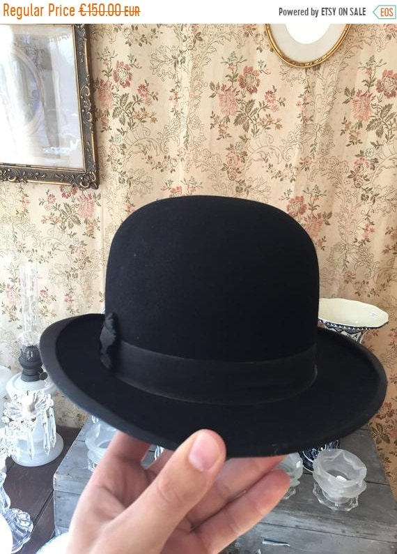 ON SALE Antique French bowler hat chapeau melon to