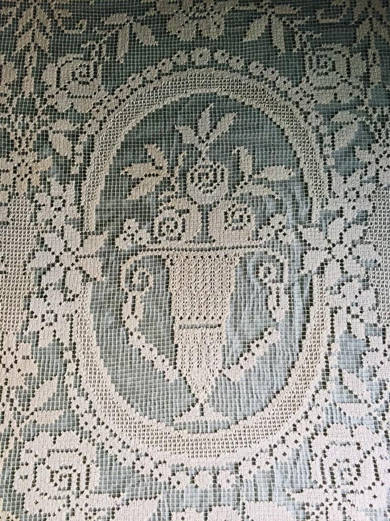 Antique bedspread handmade filet lace precious bourgeoise home linen Paris romantic boudoir bohemian shabby chic style
