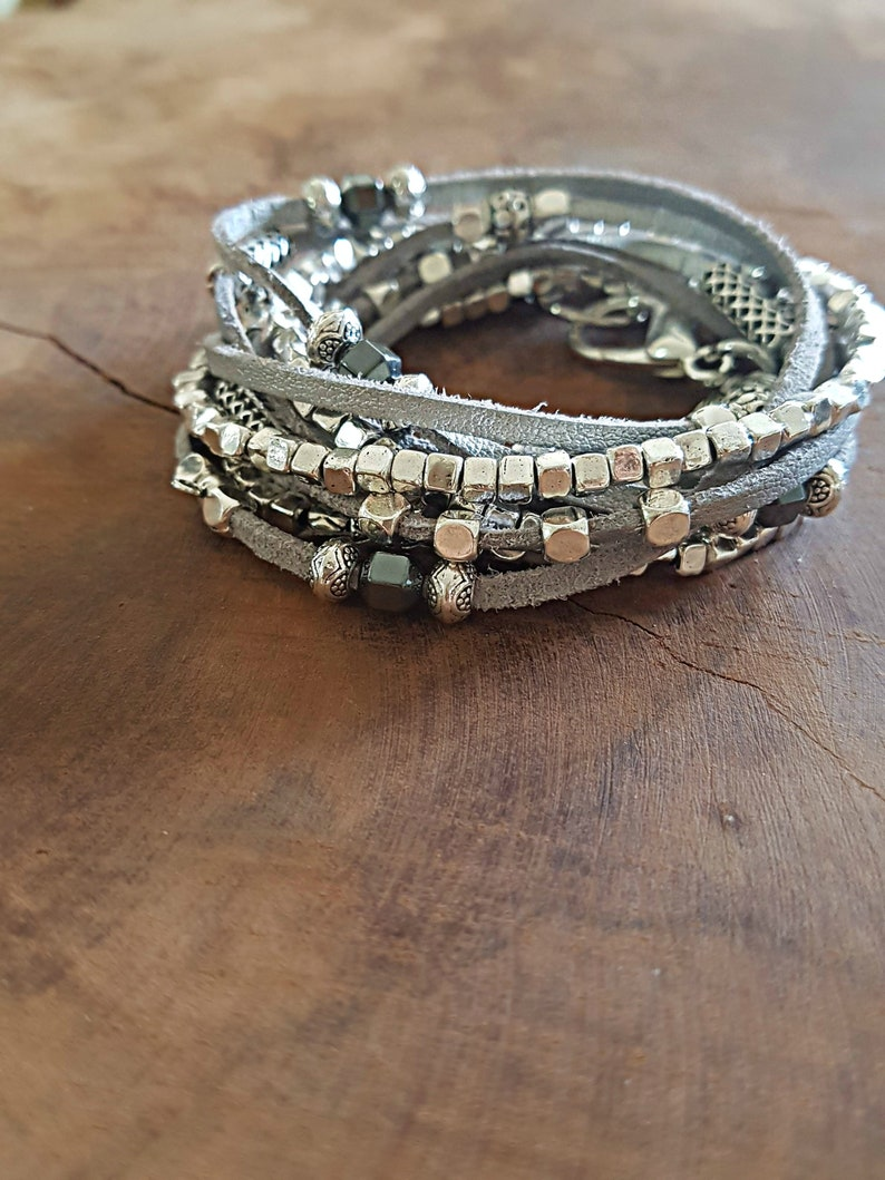 Bridesmaid Silver Layered Bracelet Necklace