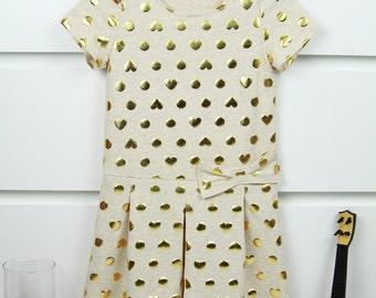 Girls' Light Beige Dress for in Gold Circles and Hearts • Girls Summer Dress • Toddler Sundress