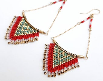 SUMMER: Fringe earrings, beaded earrings, fringe earrings, red earrings, turquoise earrings, gold earrings, festival earrings, boho earrings