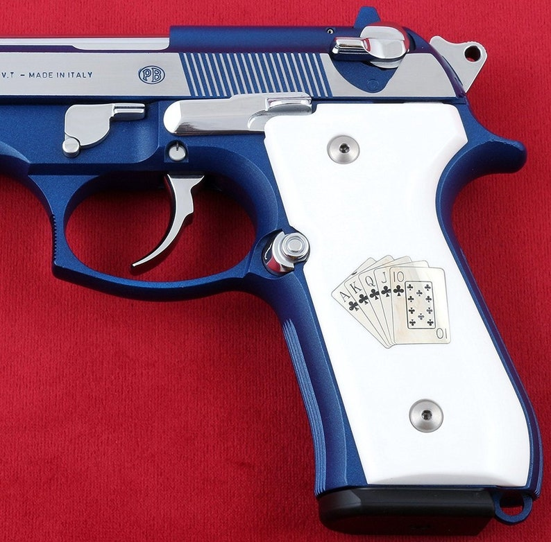 Beretta M9A1 grips made from White Acrylic/PMMA with Custom Logo made of  silver (make your own custom pair of grips)