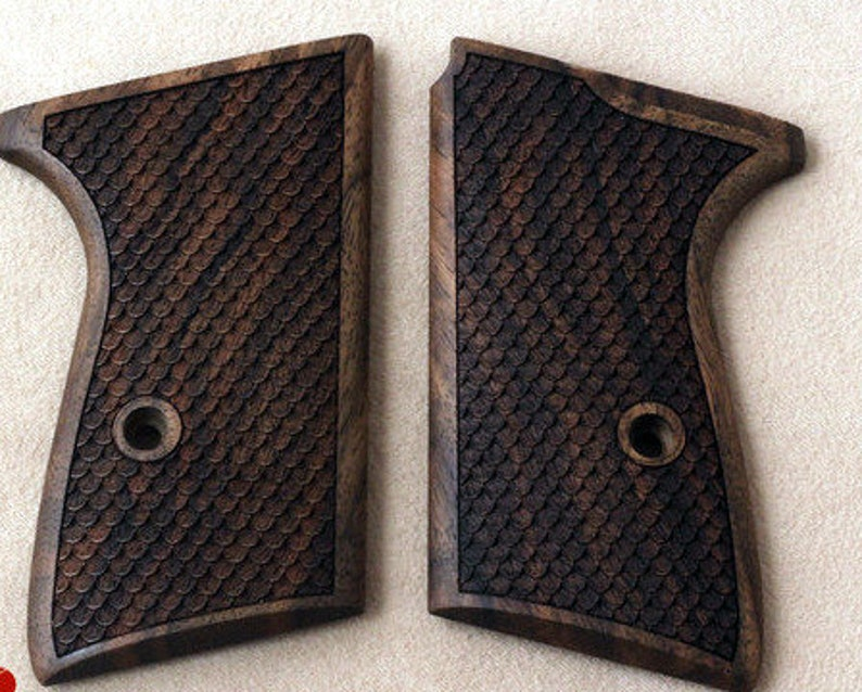 Walther PPK/S grips made from walnut wood with fish skin scaling (make your  own custom pair of grips)