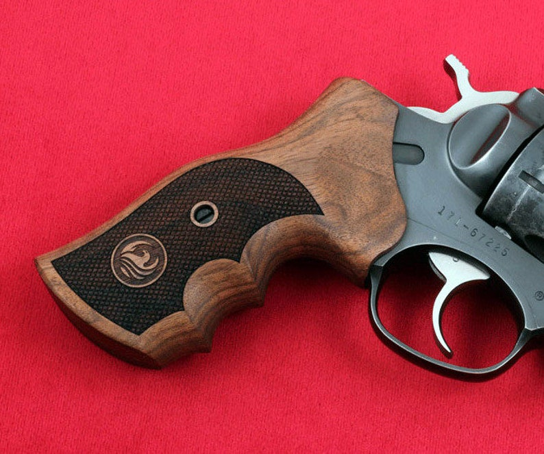 RUGER GP100 grips made from Walnut wood with Ruger logo engraving  (make  your own custom pair of grips)