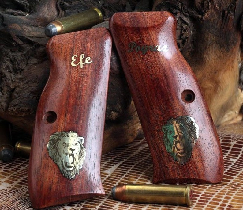 cz 75 & 85 grips made from rosewood with custom Logo made of Pure Brass   (make your own custom pair of grips)