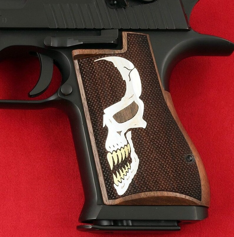 Desert Eagle Mark VII & Mark XIX grips made from Walnut wood with Custom  logo made of silver and Brass (make your own custom pair of grips)