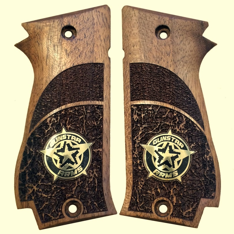 handmade SAR K2 45 walnut wood grips with Special custom Logo made of  brass (make your own custom pair of grips)