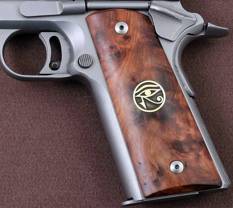 colt 1911 grips made from Rosewood with Custom Logo made of brass  (make  your own custom pair of grips)
