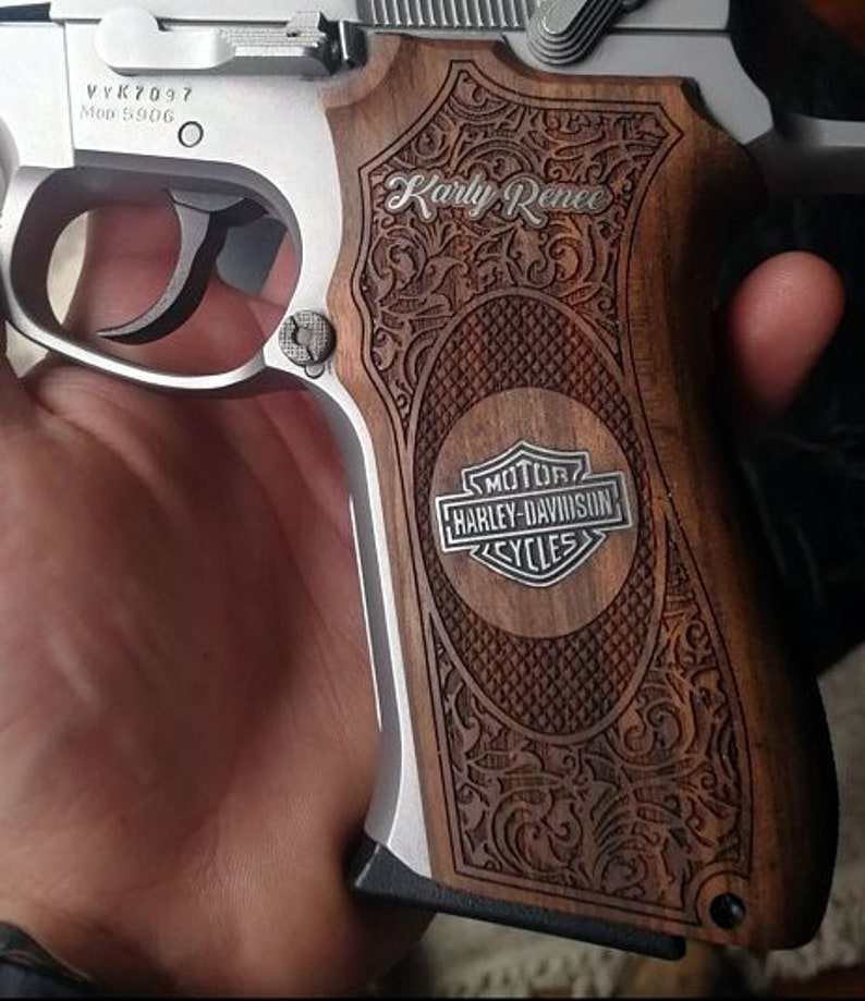 Smith & Wesson 411 grips made from Walnut wood with custom logos made of  silver (make your own custom pair of grips)