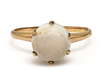 Vintage 1930s Victorian Revival White Opal Cabochon and 10K Yellow Gold Solitaire Ring Size 6.75