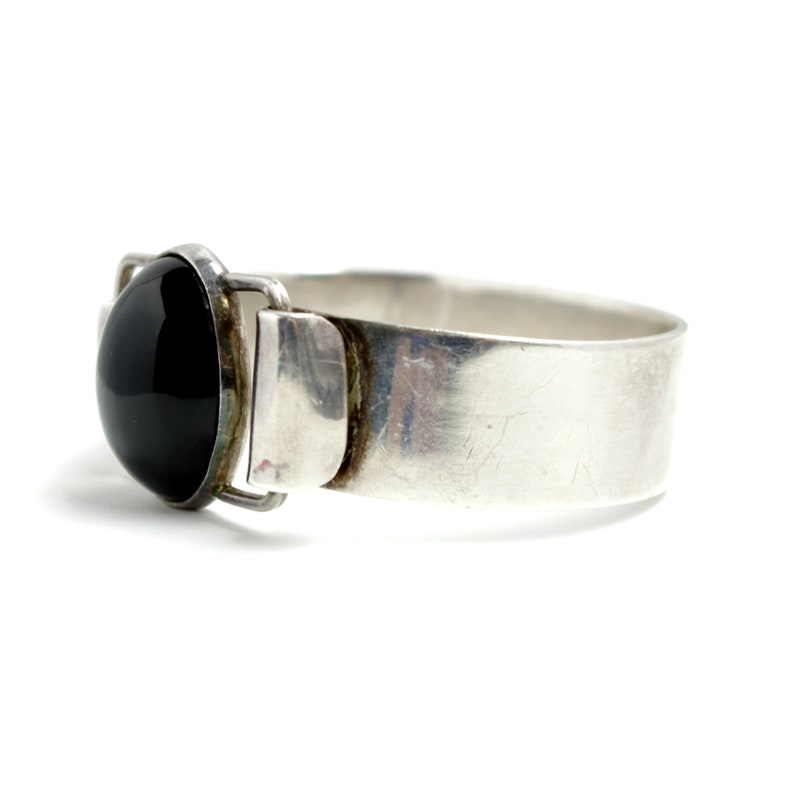 Vintage 1990s TAXCO Onyx and Sterling Silver Mexican Boho Statement Cuff 6 Bracelet