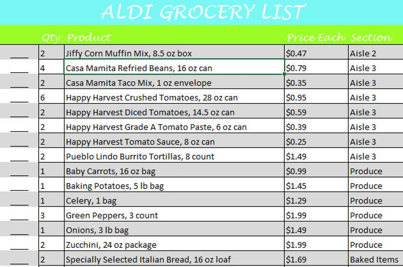 Aldi Meal Plan 1 Printable Pack