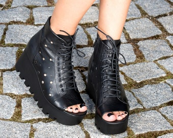 1c7d143cd60 Women summer boots Black genuine leather summer boots platform summer  boots woman wedges leather summer boots
