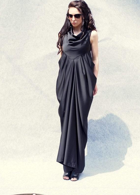 draped dress long dress extravagant draped coctail dress draped dress extravagant dress woman long dress Black woman party vqgt0