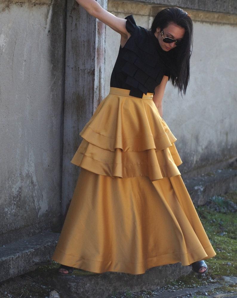 Long Maxi skirtextravagant long  skirtloose maxi casual Plus size skirtYellow skirtasymmetric skirtball gown skirtHigh Waist Skirt